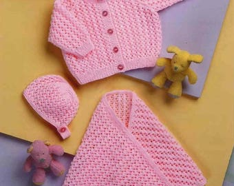 Baby Cardigan, bonnet and shawl, knitting pattern, instant download.