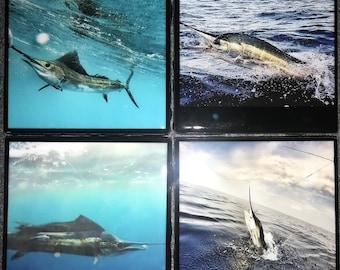 Billfish Coasters-Fish Coasters-Tile Coasters-Sailfish-Marlin-Man Cave Decor