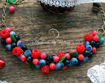 Berries necklace jewelry of polymer clay raspberries blueberries pendent idea gifts cranberry pendant with berries handmade polymer clay