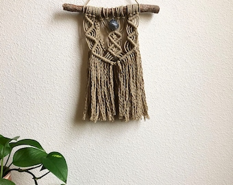 Macrame Wall Hanging with Dark Blue Crystal Pendant, Small Woven Wall Hanging, Tapestry, Boho Hippie Tapestry Wall Hanging