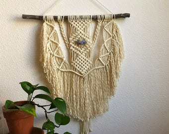 Macrame Wall Hanging with Angelite Crystal in the Center, Woven Wall Hanging, Boho Home Woven Tapestry, Hippie Wall Hanging Tapesty