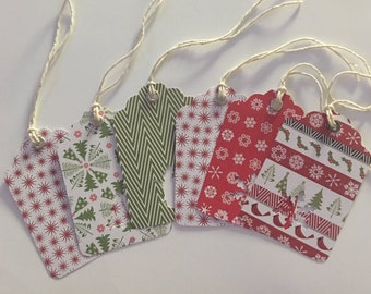 Lot of 6 Classic Handmade Paper Christmas Gift Tags