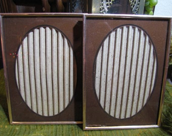 "Vintage Set 2 Reverse Painted Gold Metal Picture Frames w Brown and Black Oval Matte 5"" x 7"" Gold Metal circa 1970s Home and Wedding Decor"