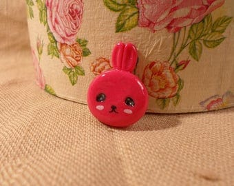 Kawaii Bunny, Pink Bunny, Bunny Pin, Kawaii Bunny Brooch, pink bunny jewelry, kawaii rabbit pin, rabbit jewelry, pink rabbit, rabbit pin,