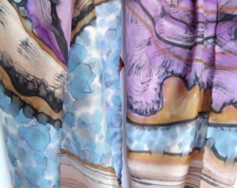 Hand painted silk scarf Abstract scarf Silk painting Purple silk shawl Violet beige scarf Purple silk scarf Violet neck wrap Abstract batik