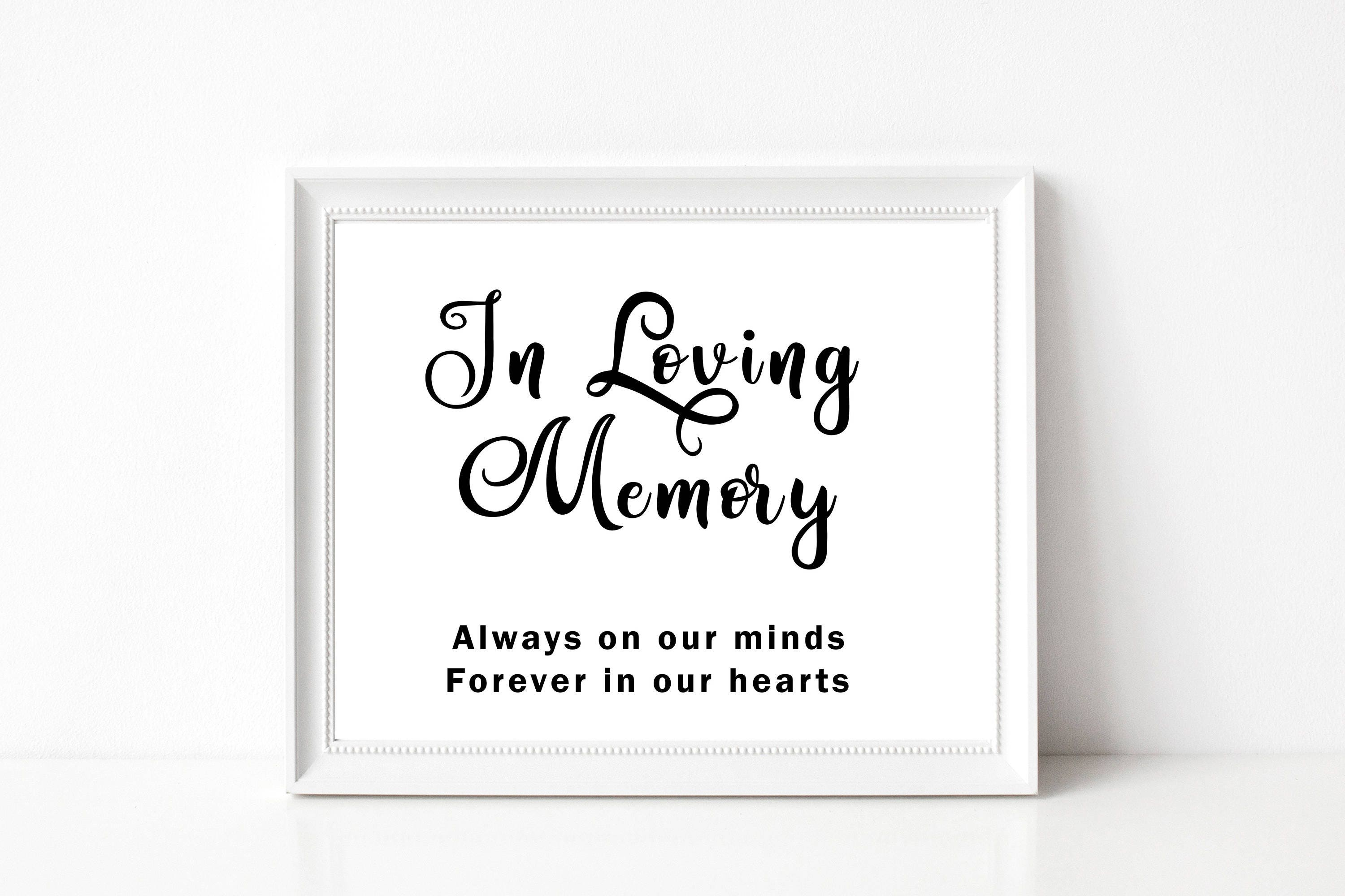 In Loving Memory Wedding Sign, Wedding Sign Template, PDF Wedding ...