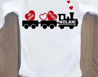 valentines onesie, Baby valentine shirt, valentines day shirt, baby valentine onesie, valentine train, boy valentine, valentines shirt
