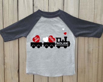 Boys valentine shirt, valentines day shirt, kids valentine shirt, valentine train, boy valentine, valentines shirt, toddler valentine shirt