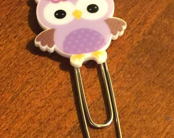 Purple Owl Planner Clip; Page Marker; Journal Clip; for Traveler's Notebooks, Happy Planner, Erin Condren