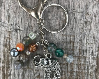 Bag Charm, Elephant Charm, Elephant Handbag Charm, Beaded Keychain, Keychain, Beads, Gift for Her, Stocking Stuffer, Christmas Gift, Silver
