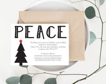 Holiday Card, Holiday Business Card, Merry Christmas Thank You Card, Etsy Seller, Thank You Card, Etsy Shop, Packaging, Small Business, TY25