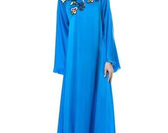 Maxi satin silk evening gown with handmade embroidery