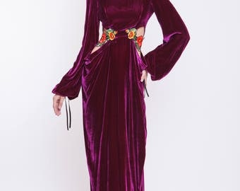 Silk velvet maxi evening gown with handmade embroidery