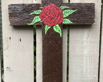 Red Rose Reclaimed Wood Cross