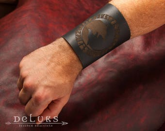 Celtic Bracelet , Viking Bracelet , Men's Leather  Bracelet  Carving Leather Cuffs Bracers - Amulet Talisman Handmade Leather Bracelets