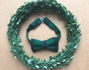 Boys Bow Tie - Green and Navy Plaid Bow Tie- Plaid Bow Tie - Christmas Bow Tie