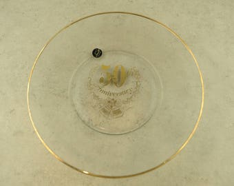 50th Anniversary Clear Glass with Gold Plate
