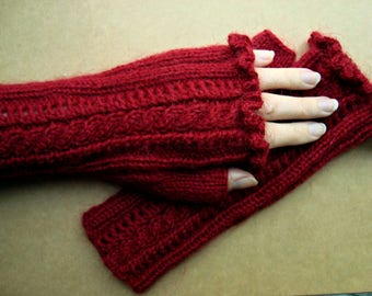 Ladies red mittens- Womens mohair wool mittens- Cable knit mittens- Lace mittens- Romantic fingerless mittens- Beautiful handmade mittens