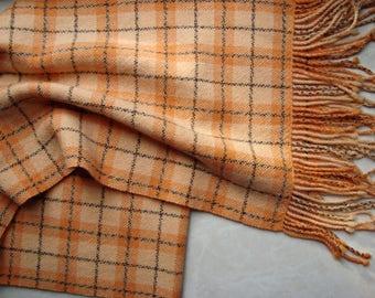 Hand woven plaid scarf merino/ cashmere Orange womens woolen soft woven scarf Handwoven warm ladies scarf  fringes Women wool scarf handmade