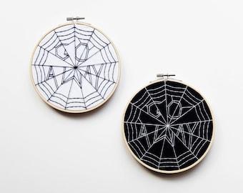 "Go Away 6"" Halloween Embroidery Hoop Art – Embroidery Art – Hand Embroidery – Wall Art"