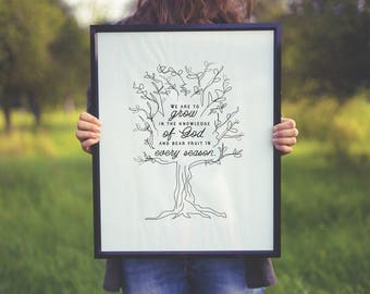 "INSPIRATIONAL LINE ART  Poster ""Bear fruit"" Typography 18""x 24"" Ready to Download!"