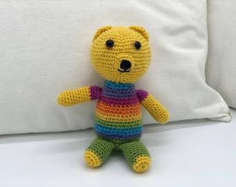 Small Crochet Teddy Bear, Amigurumi Bear, Yellow Rainbow Teddy Bear Plush Toy, Cute Crocheted Bear,  Wool Yarn