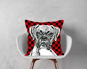 Boxer Dog,Boxer, Decorative Pillow, Dog Pillowcase, Checker Print,Personalized Pet,Gift Love this Holiday Season or Brag About Your Pet.