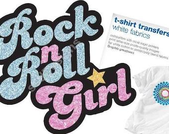 Rock n' Roll Girl !!White T-Shirt Transfer!!