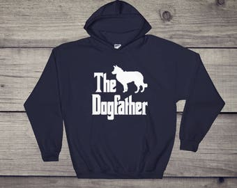 The Dogfather hooded sweatshirt, Border Collie silhouette, funny dog gift hoodie, The Godfather parody, dog lover sweater, dog gift
