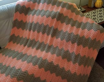 Chevron Ripple Afghan/Afghans and Throws/Crochet Lap Robes/Crochet Afghans and Blankets/READY TO SHIP