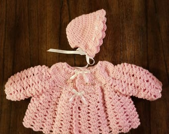 Pink Sweater Set/Crochet Sweater Set/Baby Girl Sweater and Hat/Newborn Cardigan Set/Newborn Gifts/