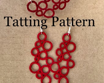 """PDF Tatting Pattern - """"Reich"""" Earrings and Necklace"""