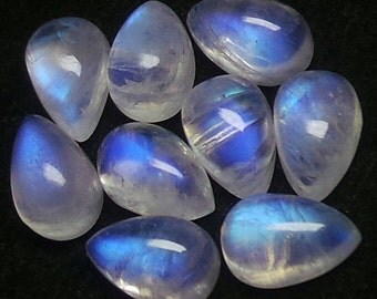Rainbow Moonstone Pear Cabochon Lot, Size-9x6 MM, Blue Flash Moonstone , AAA,  Loose Gemstone, Smooth Cabochons.