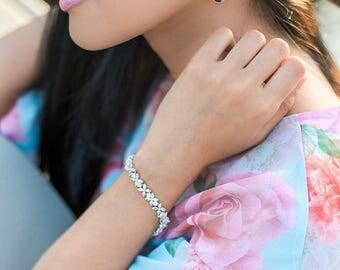 Fleurette Cubic Zirconia Bracelet, CZ Bridal Bracelet, AAA Cubic Zirconia Wedding Bracelet, Art Deco Bracelet, Rodium and CZ Bracelet