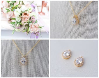 Teardrop Cubic Zirconia Pendant Necklace and Earrings set - Gold CZ Necklace and Earrings set Wedding Jewelry Set, CrystalBridal Jewelry Set