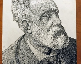 Portrait of Jules Verne in Pen and Ink