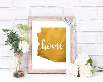 Arizona Home Decor Foil Print - College Dorm Decor - Arizona Gifts - Traditional Housewarming Gifts - Gold Wall Art - Gold Foil Prints