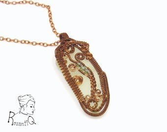 Statement sea glass pendant, wrapped in woven wire, on a copper chain