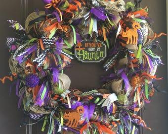 If You've Got It Haunt It Custom Burlap Halloween Wreath