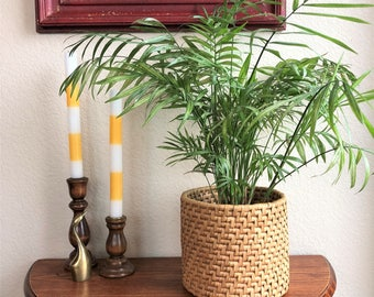 handwoven straw planter