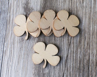 Unfinished wooden Leaf Clover Shape,plain wood Shamrock Embellishments for Craft ,Wood laser cut gift tags,scrapbooking embellishments