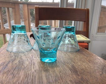 Set of 4 Hazel Atlas Vintage Capri Dots Whiskey Shot Glasses, Turquoise, Shot Glasses, Small Glasses, Tasting Glasses, Delicate Glass, Set