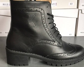 Leather Boots, Women's Leather Boots, Lace Up Black Leather Boots, Platform Boots, Ankle Boot Women's, Chunky Boots