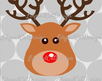 Rudolph SVG file, PNG, and DXF. Christmas svg, dxf, png file. Reindeer svg, reindeer png file. Printable image, cut file, clip art file.