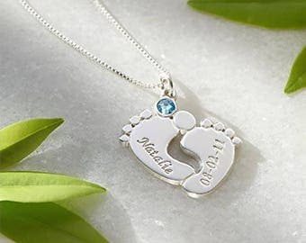 Silver Engraved Baby Feet Pendant with Swarovski Birthstone | Gifts for Moms