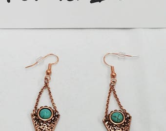 Copper Triangle with faux turquoise accent Dangle Earrings - NEW