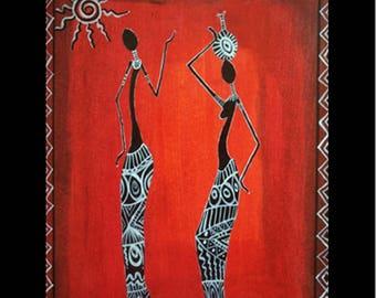 "Original Hand Paint Acrylic Painting Wall Art Home Decor Office room decor African Art ""8x10"" Gift or her bedroom decor home decor wall art"