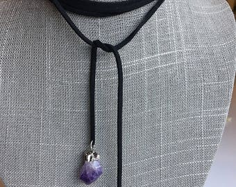 Faux suede bolo Choker with silver plated Amethyst stones