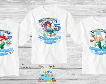 Ariel little mermaid Family birthday shirt,Custom shirt ,personalized Ariel Shirt, family shirt,birthday shirt,kids custom birthday shirt d9