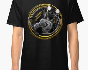 Norton P800 DOHC 1965  engine Vintage Motorcycle T-Shirt INISHED Productions